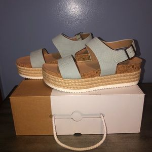 Light Blue Platform Espadrille Sandals